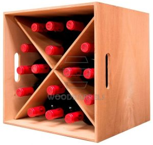 Cube Wine Rack 4 x 4 bottles oak