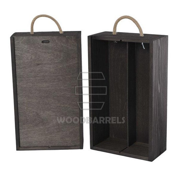 Wine Box for 2 bottles Sliding Lid black