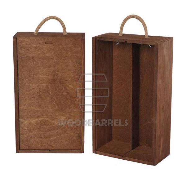 Wine Box for 2 bottles Sliding Lid brown