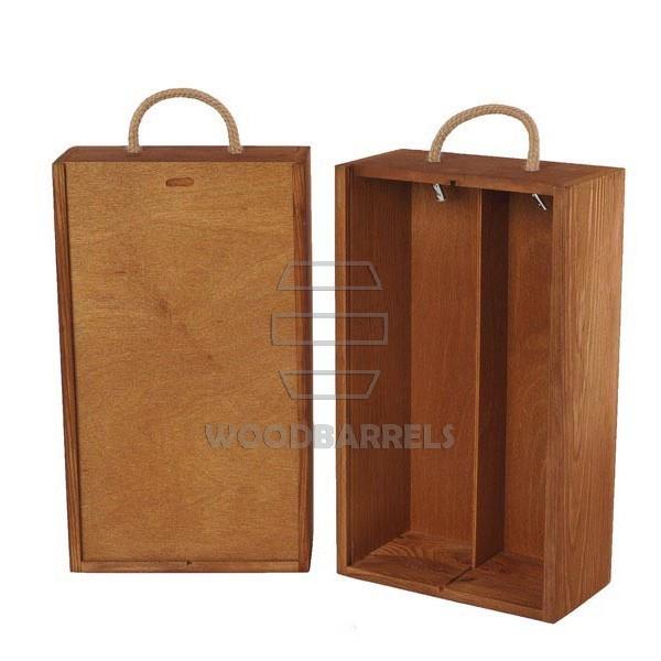Wine Box for 2 bottles Sliding Lid ginger