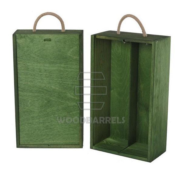 Wine Box for 2 bottles Sliding Lid green