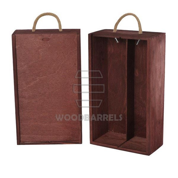 Wine Box for 2 bottles Sliding Lid mahogany
