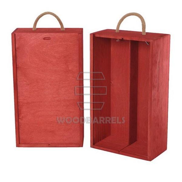 Wine Box for 2 bottles Sliding Lid red