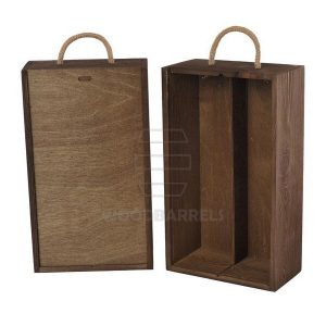Wine Box for 2 bottles Sliding Lid walnut