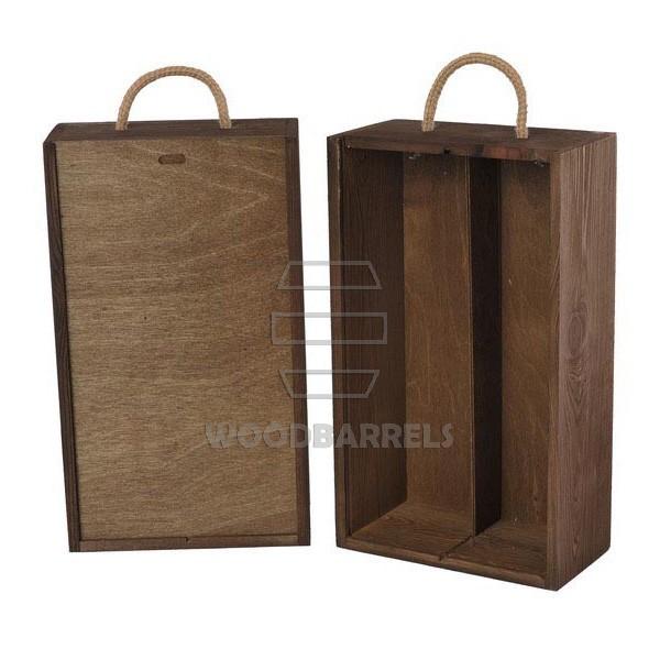 Wine Box for 2 bottles Sliding Lid walnut