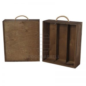 Wine Box for 3 bottles Sliding Lid walnut