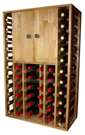 Wooden Wine Rack Display 46 bottles 2 doors
