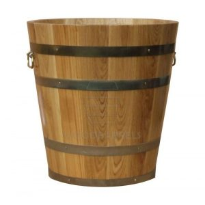 round wood planter
