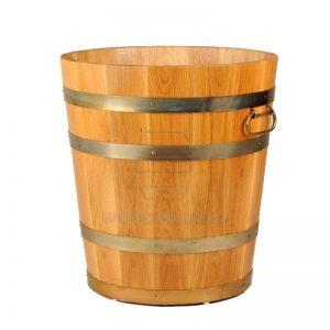 round wooden planter