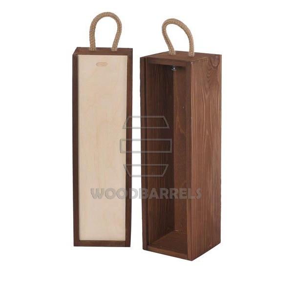 Sliding Lid Wine Box for 1 bottles brown