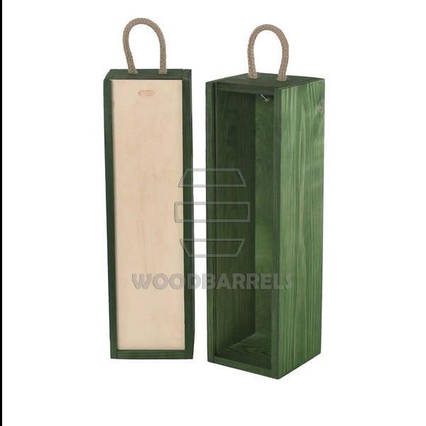 Sliding Lid Wine Box for 1 bottles green
