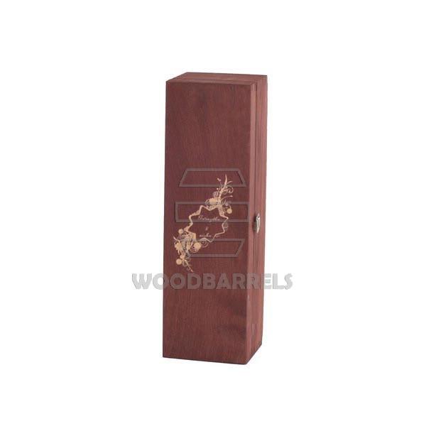 Sliding Lid Wine Box for 1 bottles mahogany