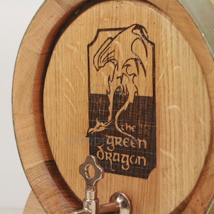 Oak Wine Barrel with branding