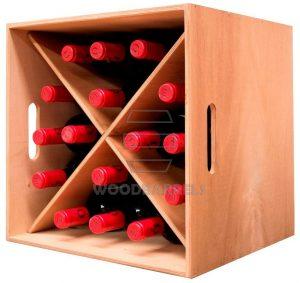 Cube Wine Rack 4 x 4 bottles oak