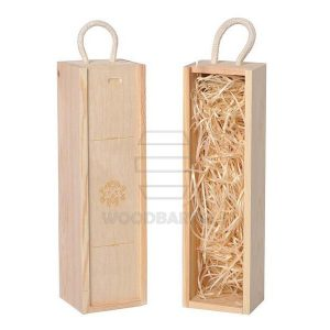 Sliding Lid Wine Box for 1 bottles natural